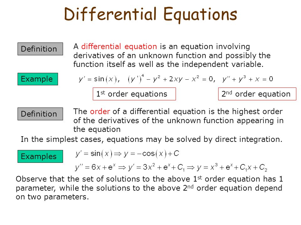 Differential Equations Definition A differential equation is an equation involving derivatives of an unknown function and possibly the function itself