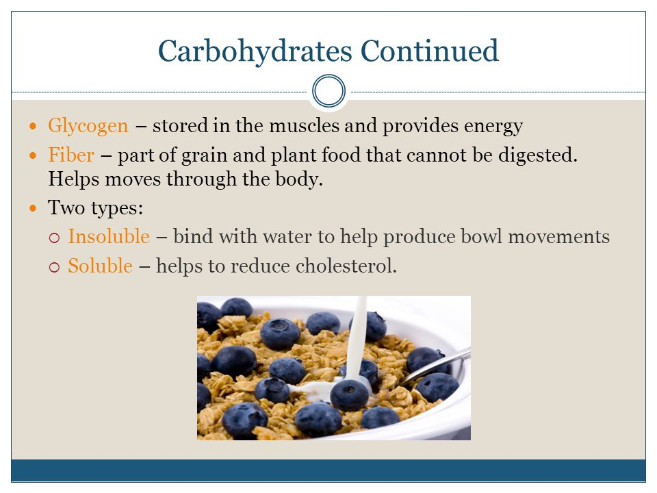 Carbohydrates Continued Glycogen – stored in the muscles and provides energy Fiber – part of grain and plant food that cannot be digested. Helps moves