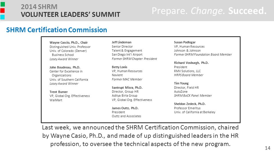 Prepare. Change. Succeed. 2014 SHRM VOLUNTEER LEADERS' SUMMIT Last week, we announced the SHRM Certification Commission, chaired by Wayne Casio, Ph.D.