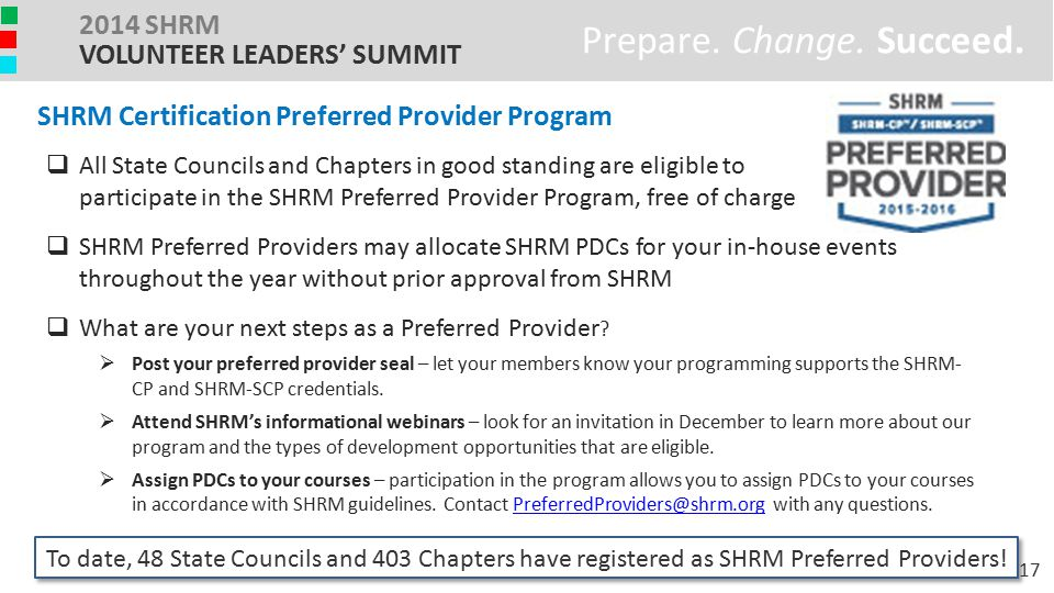 Prepare. Change. Succeed. 2014 SHRM VOLUNTEER LEADERS' SUMMIT  All State Councils and Chapters in good standing are eligible to participate in the SH