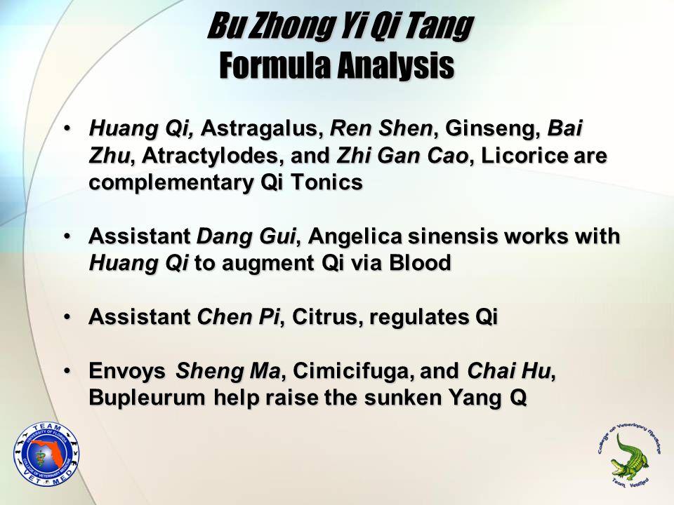 Bu Zhong Yi Qi Tang Formula Analysis Huang Qi, Astragalus, Ren Shen, Ginseng, Bai Zhu, Atractylodes, and Zhi Gan Cao, Licorice are complementary Qi To
