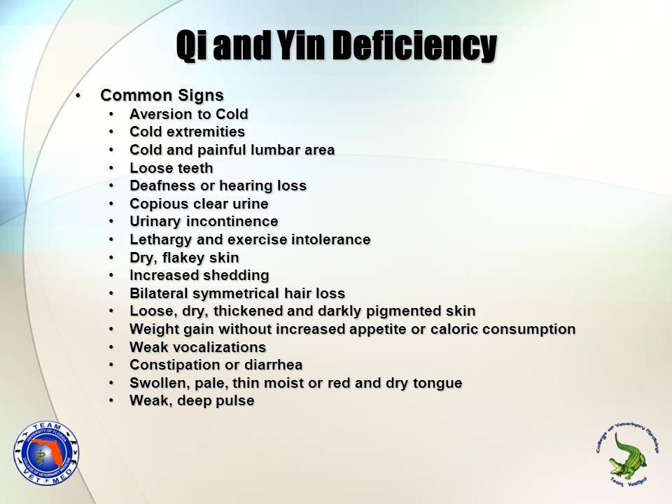 Qi and Yin Deficiency Common SignsCommon Signs Aversion to ColdAversion to Cold Cold extremitiesCold extremities Cold and painful lumbar areaCold and