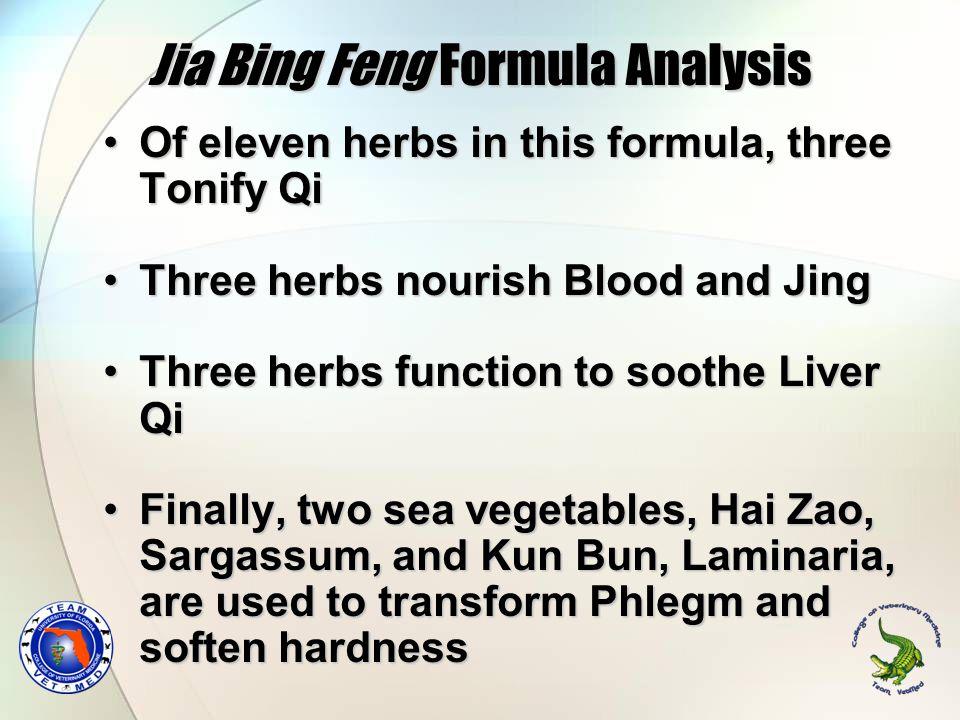 Jia Bing Feng Formula Analysis Of eleven herbs in this formula, three Tonify QiOf eleven herbs in this formula, three Tonify Qi Three herbs nourish Bl