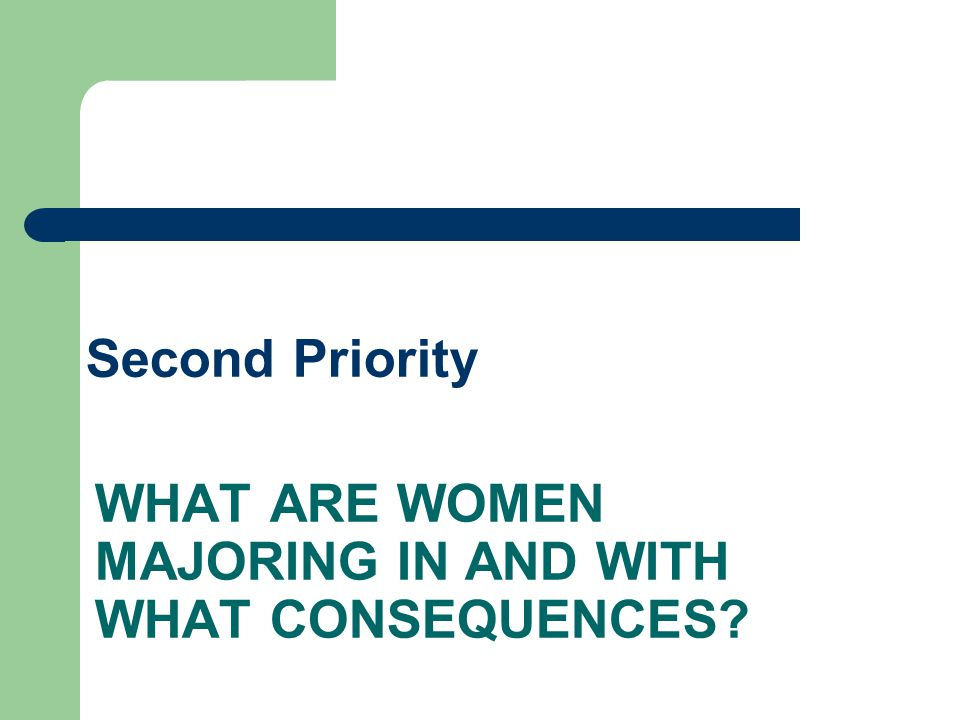 WHAT ARE WOMEN MAJORING IN AND WITH WHAT CONSEQUENCES Second Priority