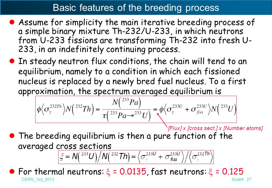 CERN_Oct_2013Slide# : 27 Basic features of the breeding process lAssume for simplicity the main iterative breeding process of a simple binary mixture