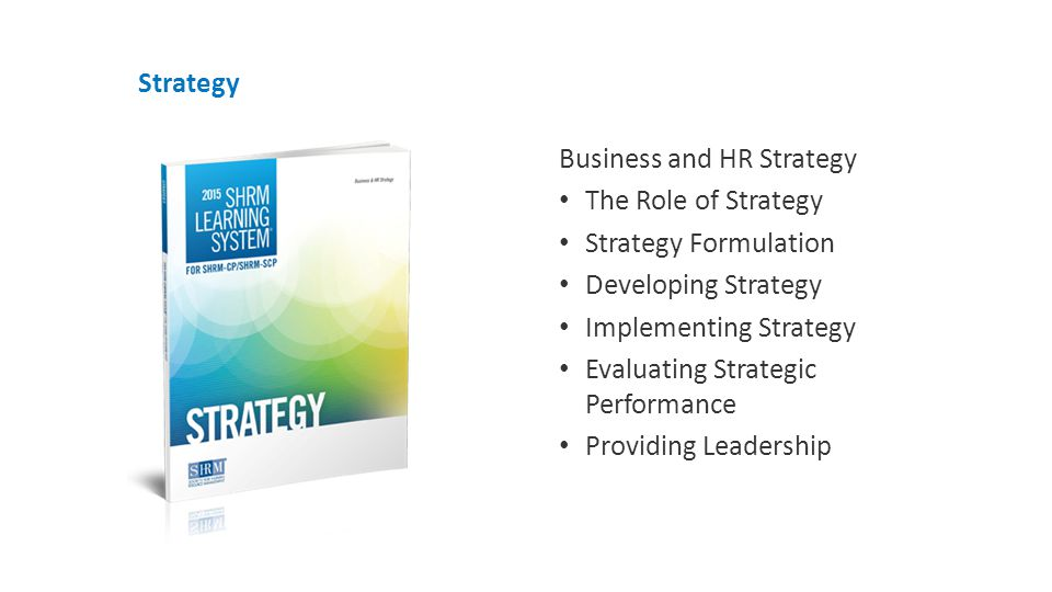 Strategy Business and HR Strategy The Role of Strategy Strategy Formulation Developing Strategy Implementing Strategy Evaluating Strategic Performance Providing Leadership