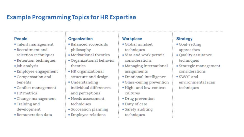 Example Programming Topics for HR Expertise