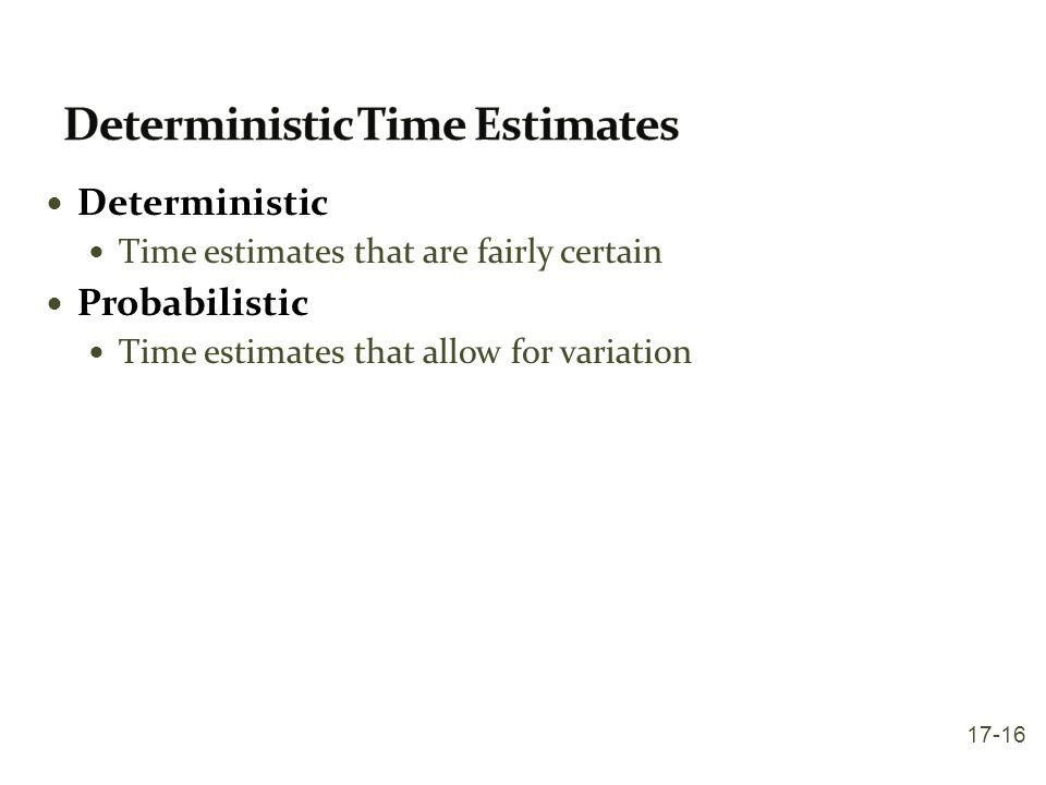 Deterministic Time estimates that are fairly certain Probabilistic Time estimates that allow for variation 17-16