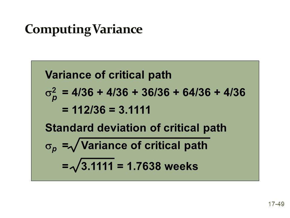 Variance of critical path  2 = 4/36 + 4/36 + 36/36 + 64/36 + 4/36 = 112/36 = 3.1111 Standard deviation of critical path  p = Variance of critical pa
