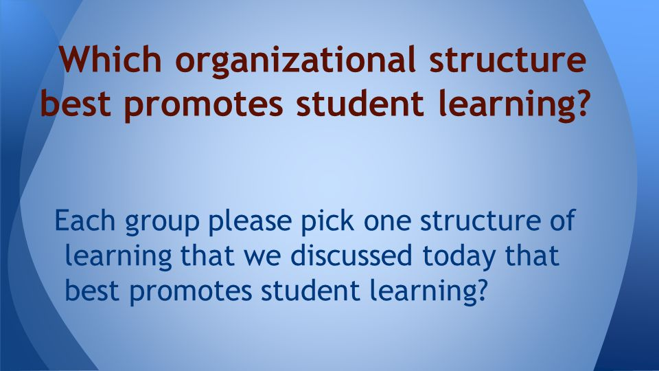 Each group please pick one structure of learning that we discussed today that best promotes student learning.