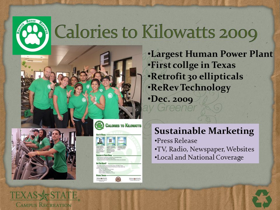 Largest Human Power Plant First collge in Texas Retrofit 30 ellipticals ReRev Technology Dec.