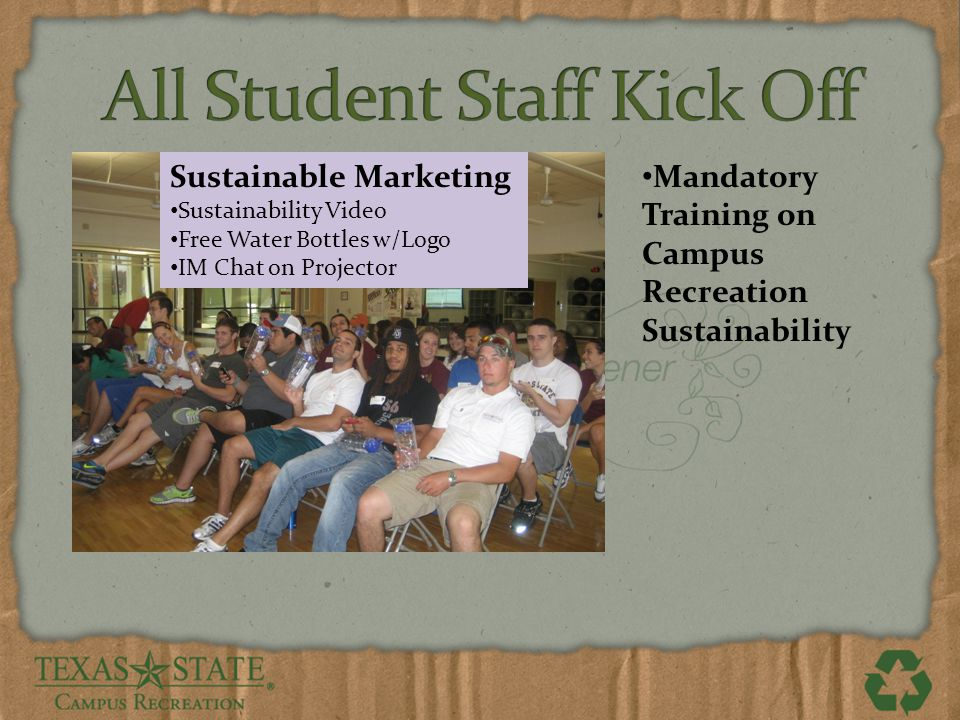 Mandatory Training on Campus Recreation Sustainability Sustainable Marketing Sustainability Video Free Water Bottles w/Logo IM Chat on Projector