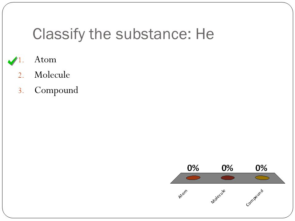 Classify the substance: He 1. Atom 2. Molecule 3. Compound
