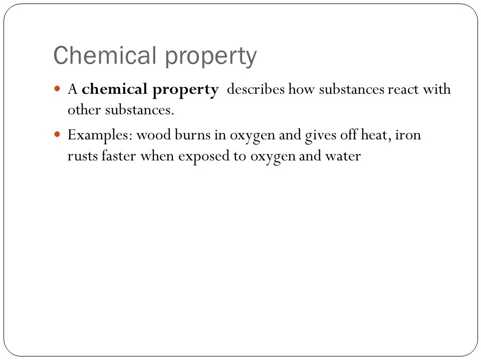 Chemical property A chemical property describes how substances react with other substances.