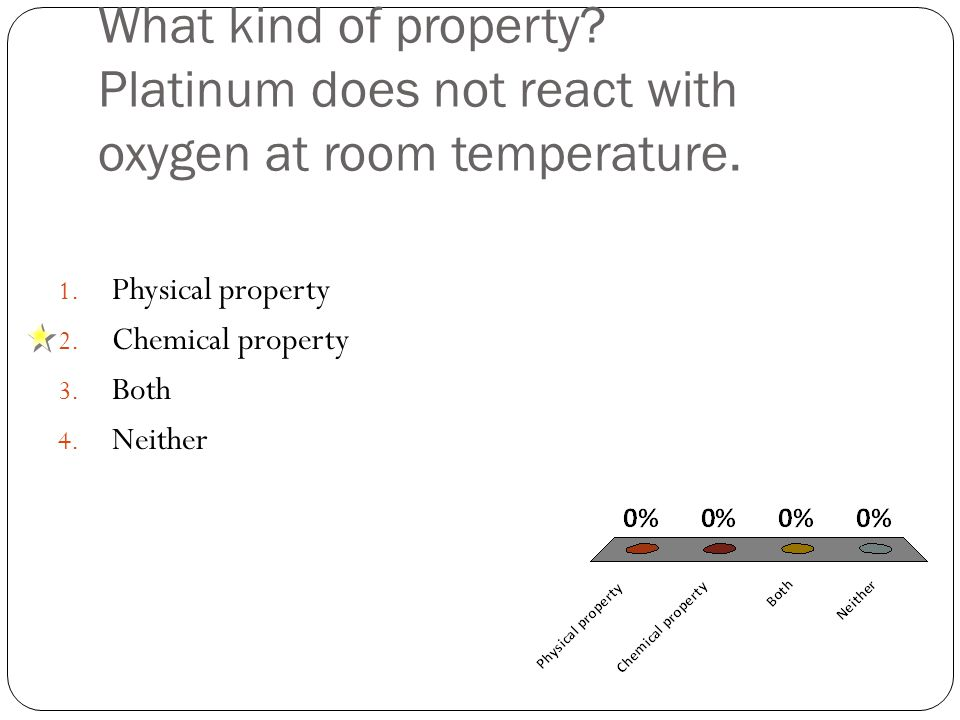 What kind of property. Platinum does not react with oxygen at room temperature.