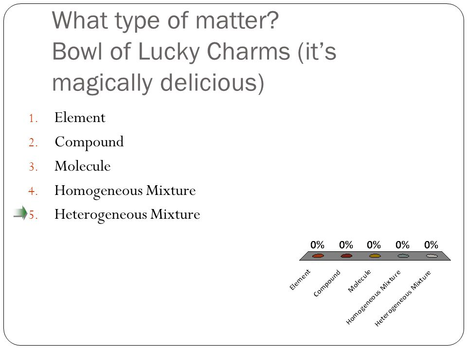 What type of matter. Bowl of Lucky Charms (it's magically delicious) 1.