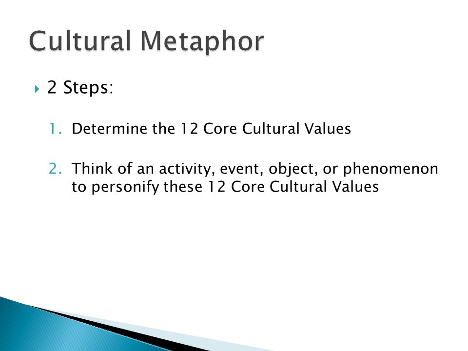  2 Steps: 1.Determine the 12 Core Cultural Values 2.Think of an activity, event, object, or phenomenon to personify these 12 Core Cultural Values