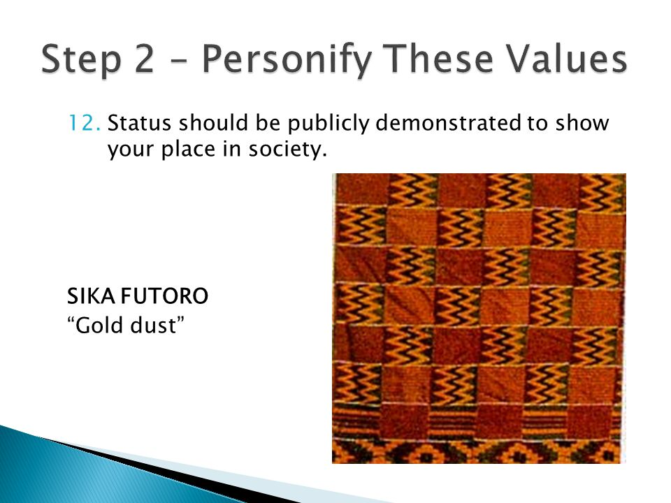 12.Status should be publicly demonstrated to show your place in society. SIKA FUTORO Gold dust