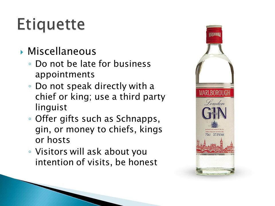  Miscellaneous ◦ Do not be late for business appointments ◦ Do not speak directly with a chief or king; use a third party linguist ◦ Offer gifts such as Schnapps, gin, or money to chiefs, kings or hosts ◦ Visitors will ask about you intention of visits, be honest