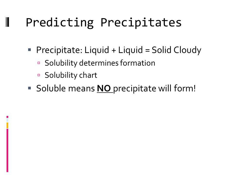 Predicting Precipitates  Precipitate: Liquid + Liquid = Solid Cloudy  Solubility determines formation  Solubility chart  Soluble means NO precipitate will form!