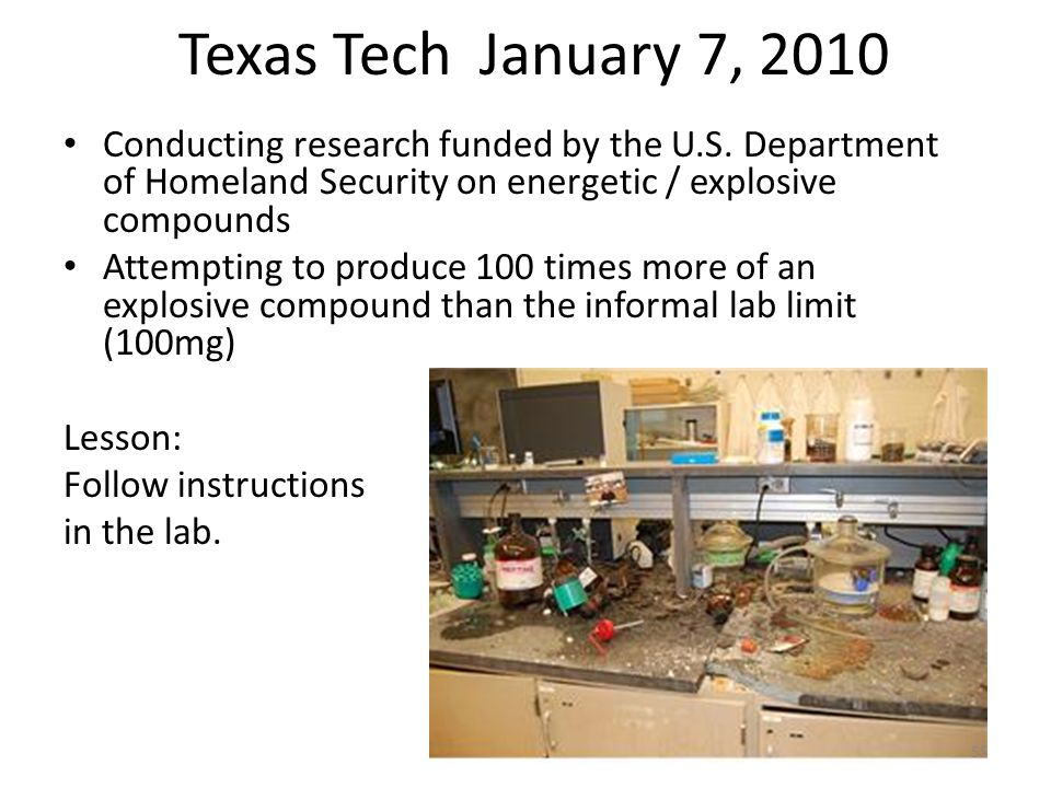 Texas Tech January 7, 2010 Conducting research funded by the U.S.