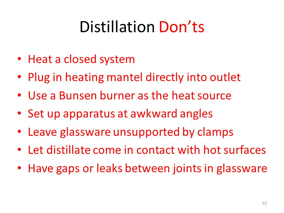 Distillation Don'ts Heat a closed system Plug in heating mantel directly into outlet Use a Bunsen burner as the heat source Set up apparatus at awkward angles Leave glassware unsupported by clamps Let distillate come in contact with hot surfaces Have gaps or leaks between joints in glassware 63