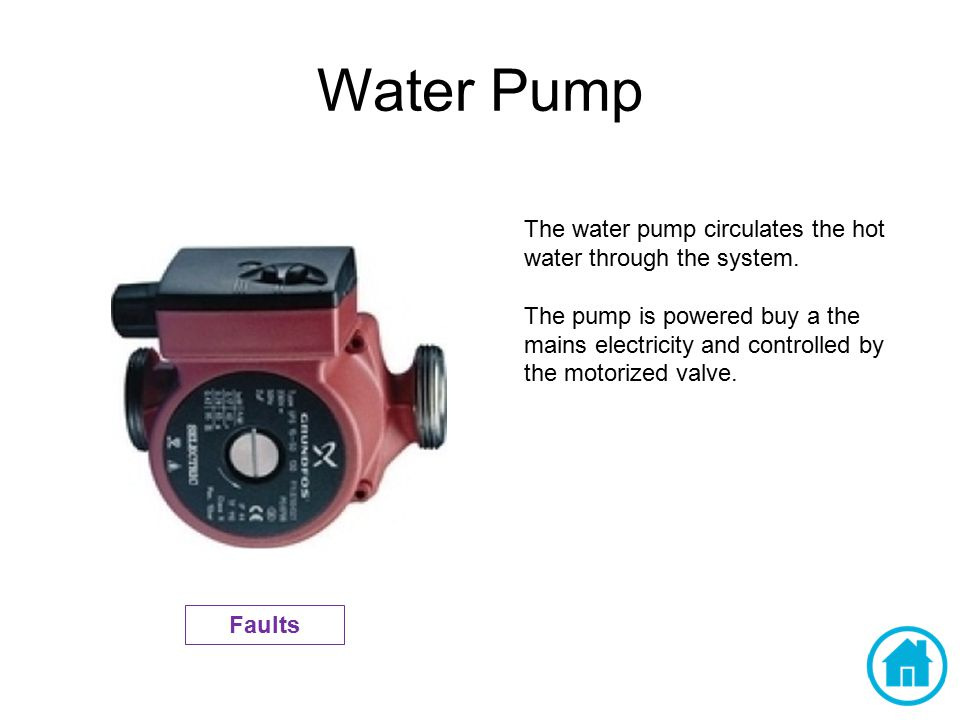 Water Pump The water pump circulates the hot water through the system. The pump is powered buy a the mains electricity and controlled by the motorized