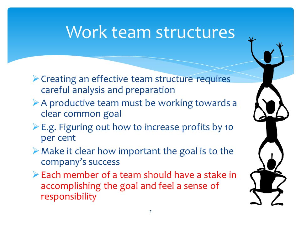  Creating an effective team structure requires careful analysis and preparation  A productive team must be working towards a clear common goal  E.g