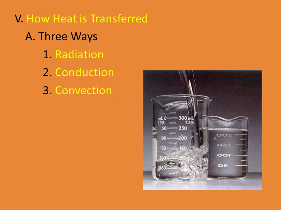 V. How Heat is Transferred A. Three Ways 1. Radiation 2. Conduction 3. Convection