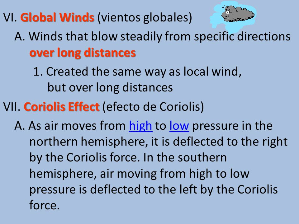 Global Winds VI. Global Winds (vientos globales) over long distances A.