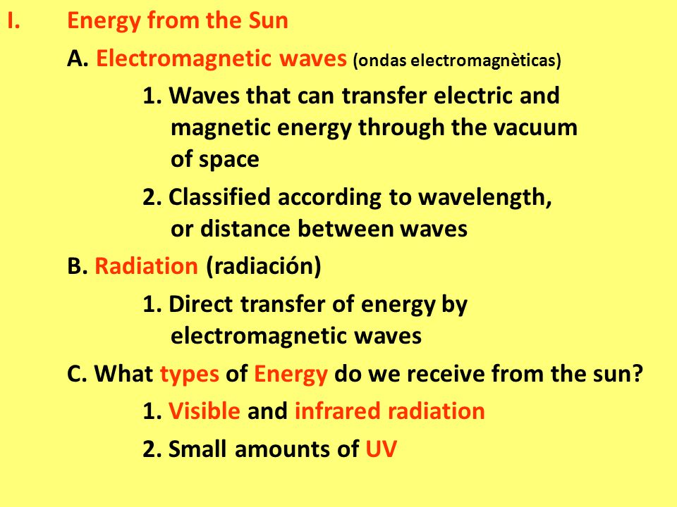 I.Energy from the Sun A. Electromagnetic waves (ondas electromagnèticas) 1.
