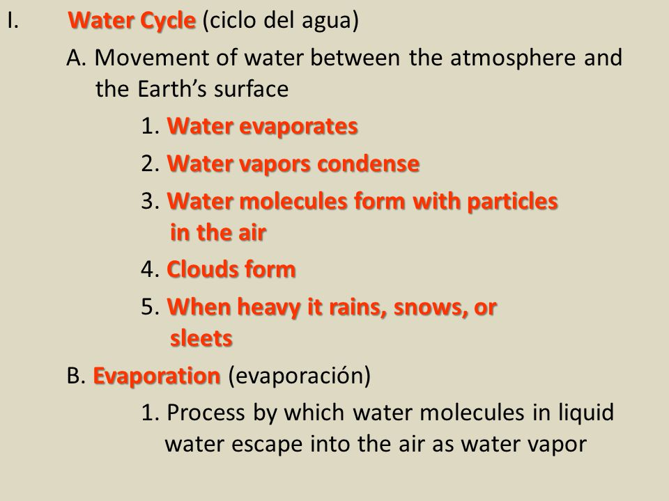 Water Cycle I. Water Cycle (ciclo del agua) A.