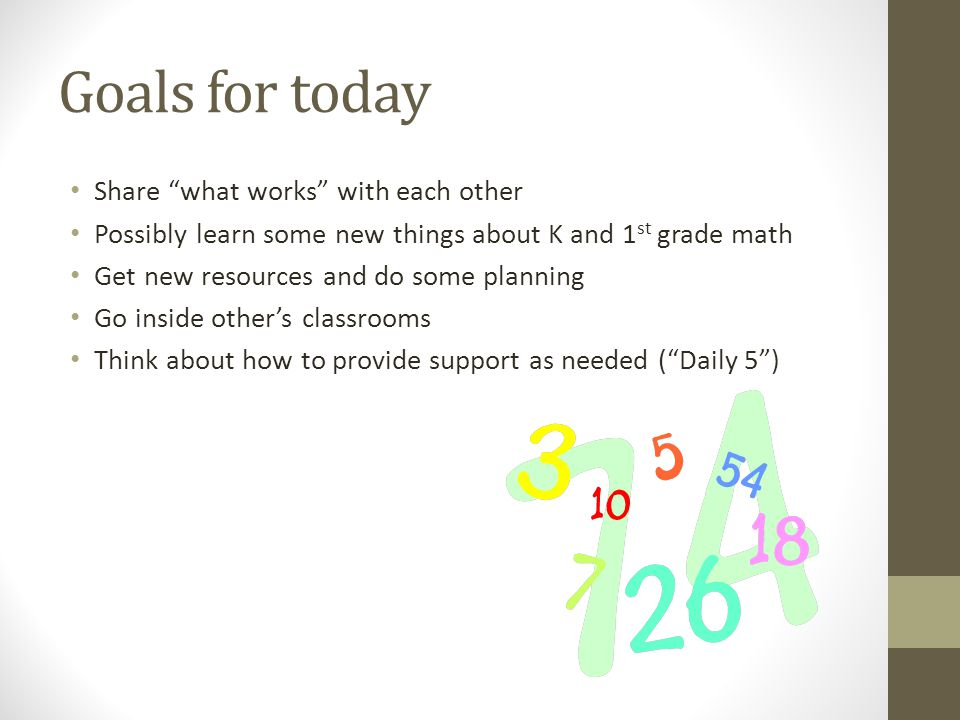 Goals for today Share what works with each other Possibly learn some new things about K and 1 st grade math Get new resources and do some planning Go inside other's classrooms Think about how to provide support as needed ( Daily 5 )