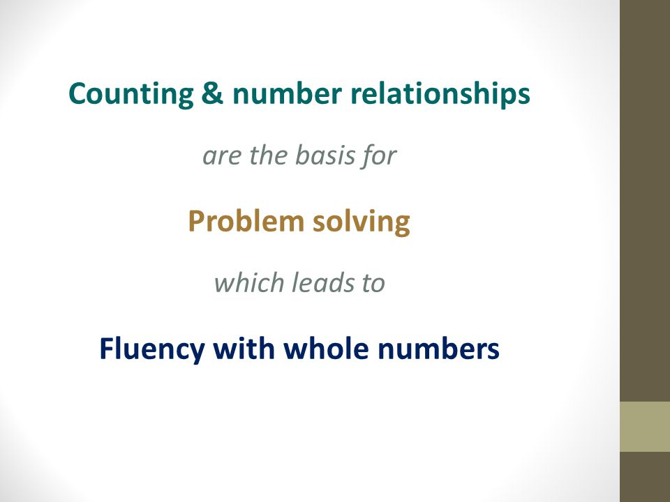 Counting & number relationships are the basis for Problem solving which leads to Fluency with whole numbers