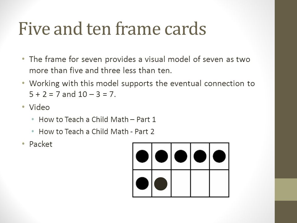 Five and ten frame cards The frame for seven provides a visual model of seven as two more than five and three less than ten.