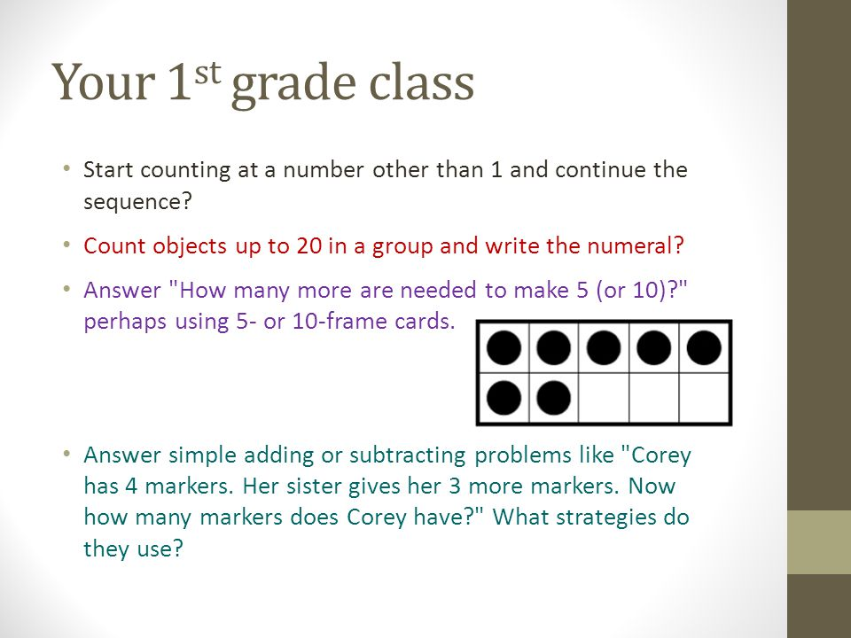 Start counting at a number other than 1 and continue the sequence.