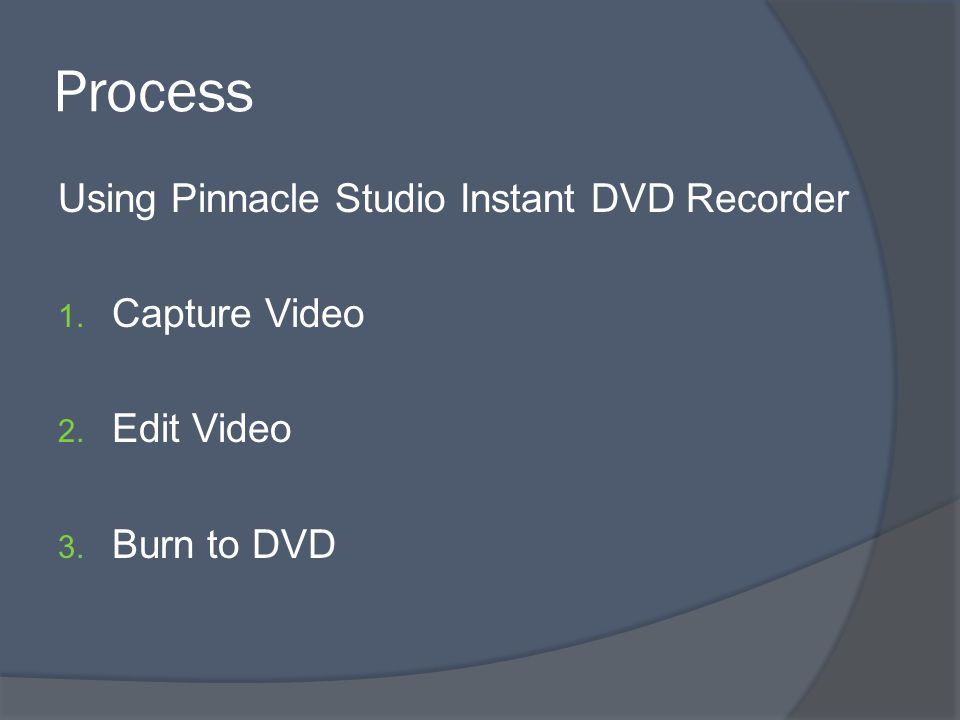 Process Using Pinnacle Studio Instant DVD Recorder 1. Capture Video 2. Edit Video 3. Burn to DVD
