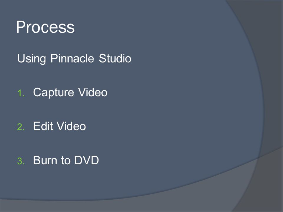 Process Using Pinnacle Studio 1. Capture Video 2. Edit Video 3. Burn to DVD