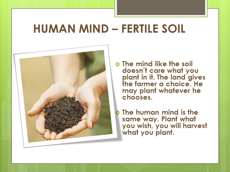 HUMAN MIND – FERTILE SOIL  The mind like the soil doesn't care what you plant in it. The land gives the farmer a choice. He may plant whatever he cho