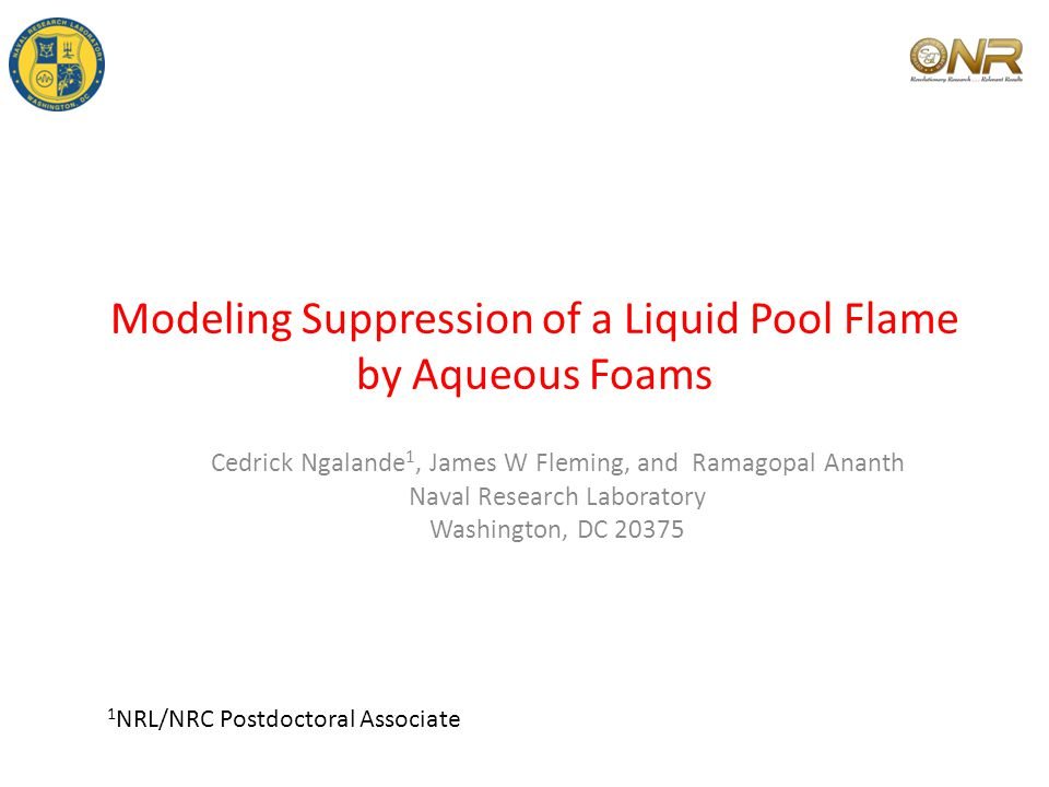 Modeling Suppression of a Liquid Pool Flame by Aqueous Foams Cedrick Ngalande 1, James W Fleming, and Ramagopal Ananth Naval Research Laboratory Washington, DC 20375 1 NRL/NRC Postdoctoral Associate