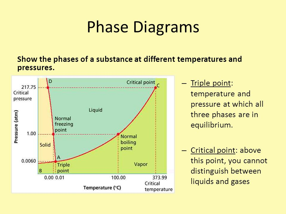 Show the phases of a substance at different temperatures and pressures.