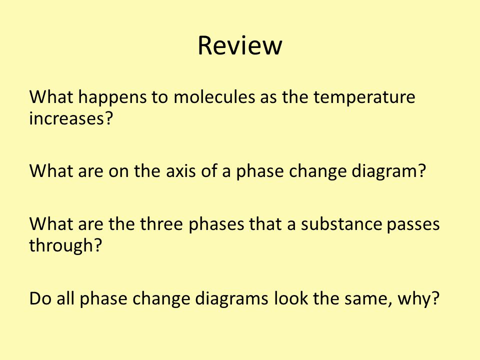 Review What happens to molecules as the temperature increases.