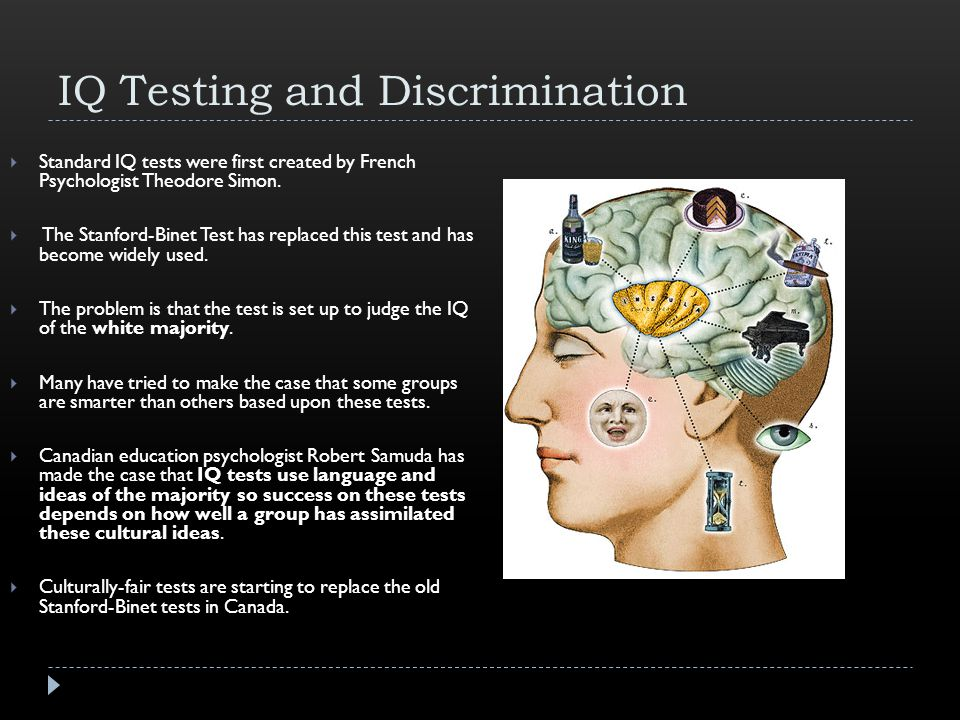 IQ Testing and Discrimination  Standard IQ tests were first created by French Psychologist Theodore Simon.
