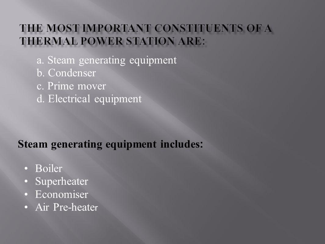 a. Steam generating equipment b. Condenser c. Prime mover d. Electrical equipment Steam generating equipment includes : Boiler Superheater Economiser