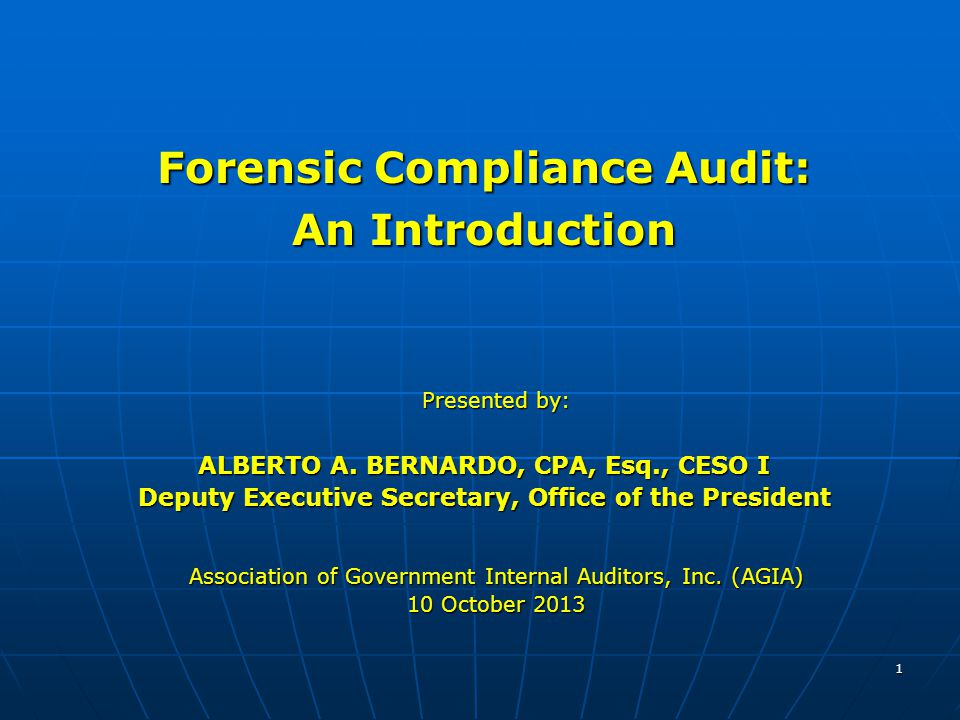 2 I.Audit Process II. Review and Compliance Procedure III.