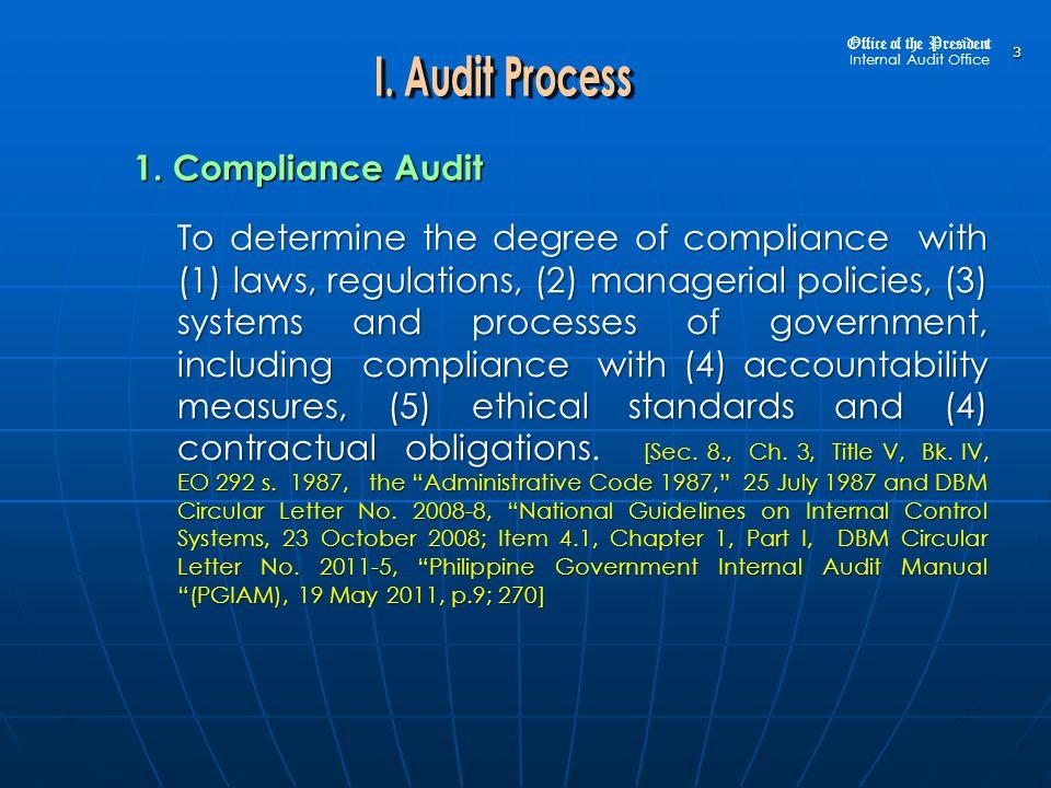 Office of the President Internal Audit Office 164 3.