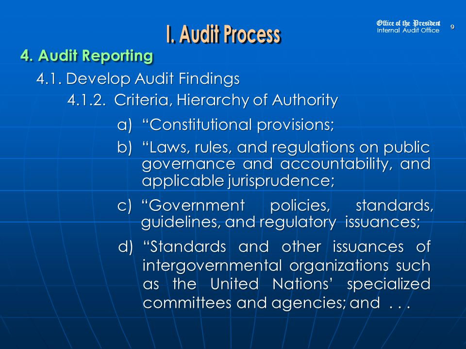 10 4.1.Develop Audit Findings 4.1.2. Criteria, Hierarchy of Authority (continuation) 4.