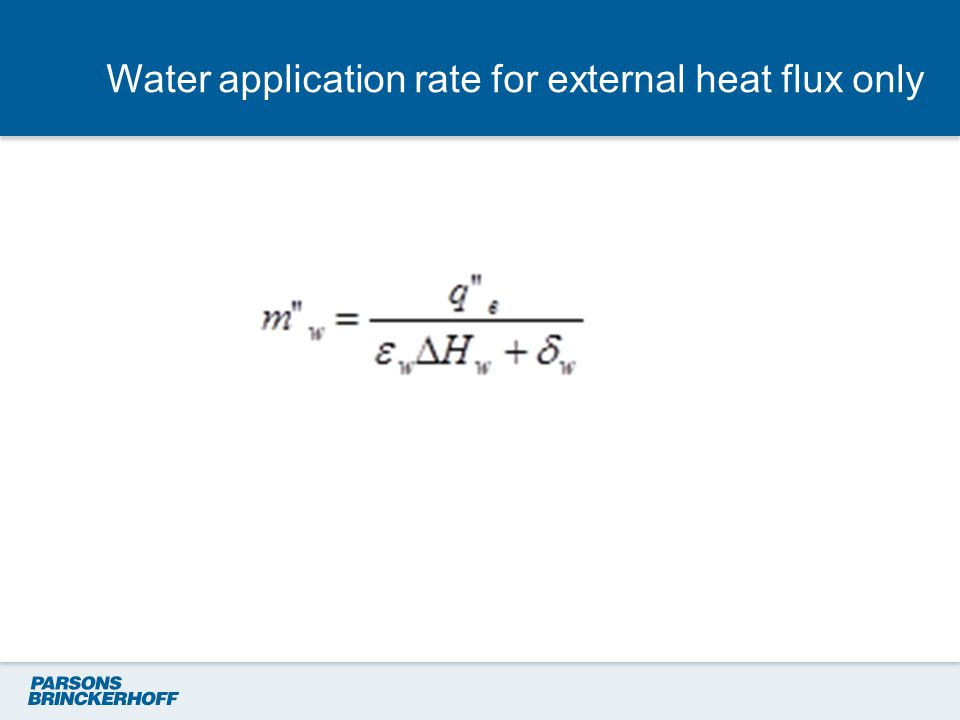 Water application rate for external heat flux only