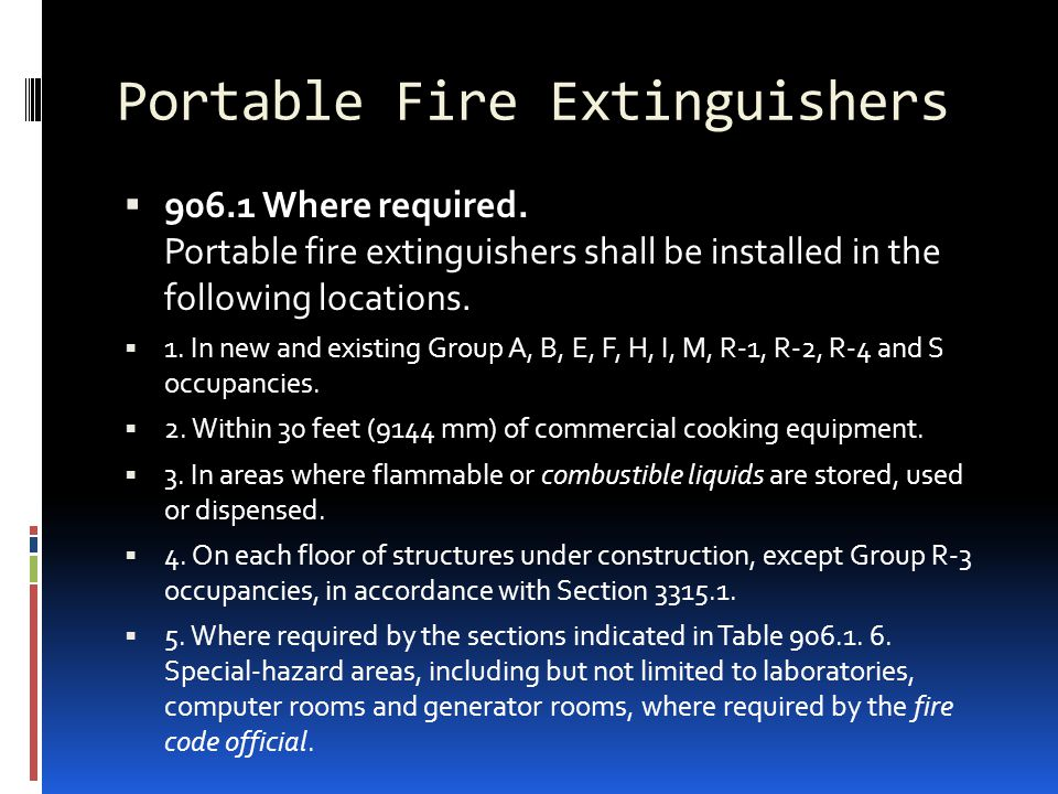  906.1 Where required. Portable fire extinguishers shall be installed in the following locations.  1. In new and existing Group A, B, E, F, H, I, M,