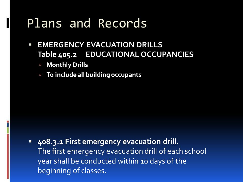 Plans and Records  EMERGENCY EVACUATION DRILLS Table 405.2 EDUCATIONAL OCCUPANCIES  Monthly Drills  To include all building occupants  408.3.1 Fir